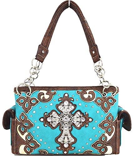 Blancho Biancheria da letto delle donne [Diamante] borsa dellunità di elaborazione di cuoio di modo elegante Borsa Turchese Handbag-Turchese