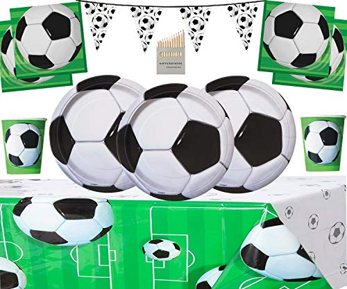 football party Tableware Pack Kids Birthday Party Decoration Including Football Banner, Plates, Cups, Napkins, Tablecloth- Serves 16