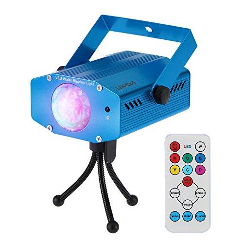 Lixada 9W Mini Luz de Escenario Cambio de color RGBW, Efecto Onda de Agua, LED Lámpara con Controlador Remoto, para Disco KTV Partido Club Home Entertainment