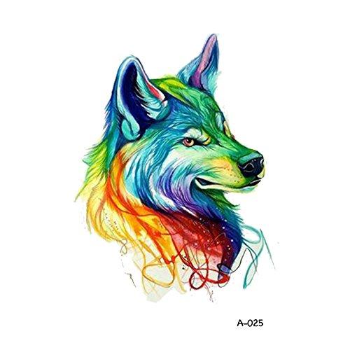 WYUEN 5 STÜCKE Aquarell Wolf Temporäre Tattoo Aufkleber für Frauen Fake Tattoo Männer Körper Kunst Hand Aufkleber 9,8X6 cm FA-025