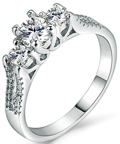 SaySure 18K White Gold Plated Anniversary Wedding & Engagement Ring (White Gold K Wedding Band 18)