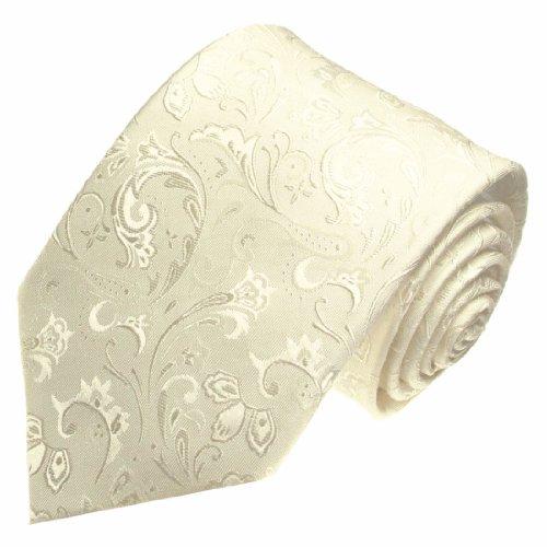 Lorenzo Cana - Marken Krawatte aus 100% Seide - Ivory Creme Elfenbein - Hochzeitskrawatte Barock - 84346