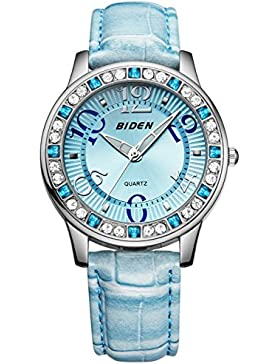 Damen Jugendliche Mädchen Wasserdicht Blau Echtleder Designer Uhren Frauen leuchtend Mode Elegant Analog Quarz...