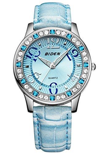 Damen Jugendliche Mädchen Wasserdicht Blau Echtleder Designer Uhren Frauen leuchtend Mode Elegant Analog Quarz Armbanduhr Weiblich Luxus Bling Kristall Accentted Dial Uhr - Damen Kleidung : Uhren Blau