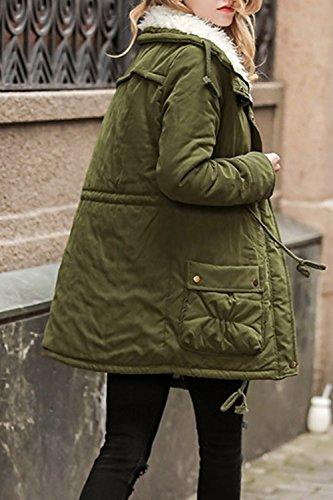 Les Femmes Hoodied Épaisses Parkas Extérieur De La Tenue Occasionnelle Anroaks Avec Des Poches De Manteau green