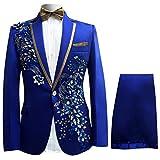 Cloud Style Cloudstyle Haut de costume deux-pièces une bouton veste+pantalon pour Homme Bleu 1 XL