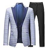 Sliktaa Anzug Herren 3 Teilig Slim Fit Blazer Anzugjacke und Hose und Weste