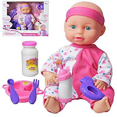 """10"""" Baby Doll Play Set with Feeding Milk Bottle and Accessories Girls Toy"""