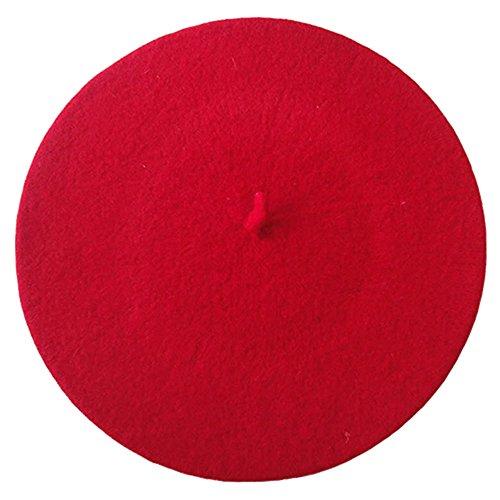 Mützen Französische (Livecity® Frauen Mädchen Französischer Stil Einfarbig Wolle Warm Ebene Baskenmütze Beanie Hut)