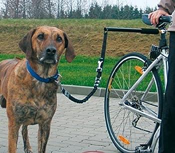 T Tocas Chiens Leash de vélos en acier inoxydable - Walk & Promenade avec Animaux Laisses mains libres de cycle Pet Lead Entraînement sportif, poignée de silicone confortable (poignée noire)