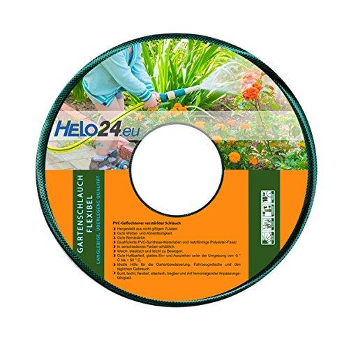 """Helo Gartenschlauch 25 m (1/2\"""" Zoll) grün, verstärkter 3-Schichten Wasserschlauch aus flexiblen PVC mit netzförmiger Polyester Faser, 10 Bar Berstdruck, elastisch weich und leicht zu bewegen"""