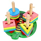Arshiner Stacking Wooden Sorter Toys,Wooden Geometric Shaped And Puzzle Color Recognition Block Educational Toys For Kids