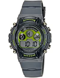 Sonata Digital Grey Dial Men's Watch -NK77006PP02