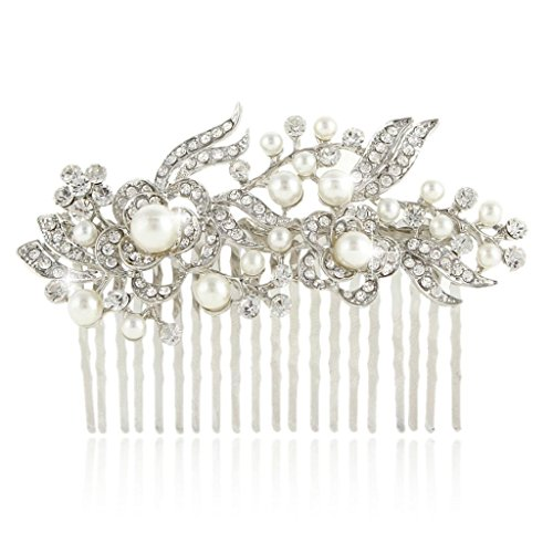 Ever Faith Cristallo Gatsby Ispirato Avorio Colore simulato Pearl pettine - Clear-20-Denti-silver-tone