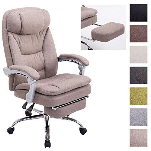 CLP XL Büro-Stuhl TROY mit Armlehne, Stoff-Bezug, Relaxsessel mit Fußstütze ausziehbar, Chefsessel, Belastbarkeit bis 160 kg, taupe