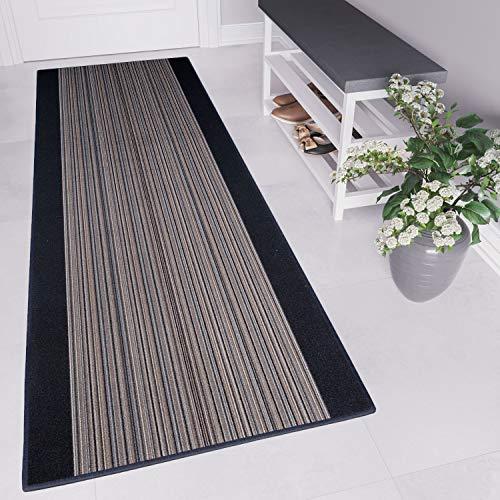 Tapiso agadir tappeto passatoia al metro corridoio cucina da ingresso ufficio basalto antiscivolo linee a pelo corto 100 x 210 cm