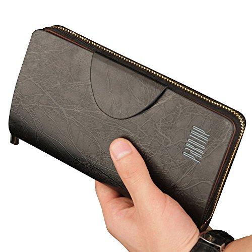 Oneworld Herren Rindleder Clutch Handyetui Universalbörse Geldbörse Börse Geldbeutel Geldtasche Portemonnaie 19x10.5x3cm(BxHxT) Schwarz Schwarz