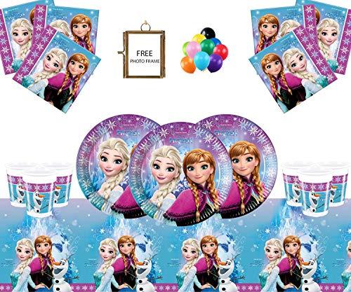 ty Supplies Kinder Geburtstag Geschirr Northern Lights Dekorationen 32- Frozen Party Teller Cup Tischabdeckung - Free Foto Frame & Balloons ()