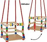 alles-meine.de GmbH Schaukel aus Holz - mit Gurt - Gitterschaukel / Kinderschaukel - leichter Einstieg ! - mitwachsend & verstellbar - Babyschaukel - verstellbare Kleinkindschaukel - Holzschaukel Baby Kinder - Holzgitterschaukel für Innen und Außen - Indoor Outdoor - mit Sicherheitsstäben / bunte Stäbe - Holzbabyschaukel - Garten oder im Haus