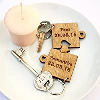 2 x Personalised Jigsaw Puzzle Piece Wooden Keyrings Each Engraved with Names & Date