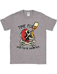 Fancy A Snuggle Time Flies When You're Having Rum Pirate Skull & Crossbones Jolly Roger Drinking Bottle Of Rum Mens T-Shirt