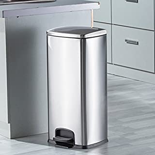 AILI Stainless Steel Green Pedal Trash Can, Bedroom Living Room Large-capacity Silver Trash (Capacity : 30l)
