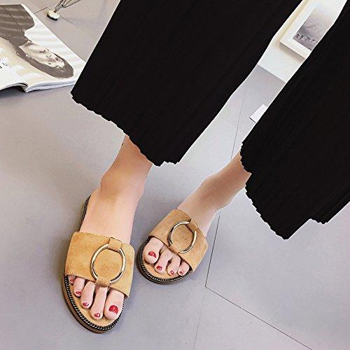 La Primavera E L'Estate Del Camoscio Pantofole Con Un Metallo Della Parola Piana Sandali Dichotomanthes Fine.,Khaki,Eu38,Cn39,, EU39,CN40,,