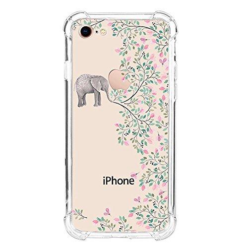 iPhone 8custodia, assorbimento degli urti Ucmda trasparente in silicone TPU paraurti copertura con [schermo in vetro temperato] trasparente copertura protettiva per iPhone 8- trasparente Panda iPhon Elephant&Flower