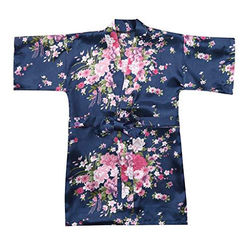 feiXIANG Kleinkind Nachthemd Kleidung Kimono Roben Bademantel Baby Kind Mädchen Blumendruck Nachtwäsche 2-8 Jahre(A/Marine,6-7 Jahre=12)