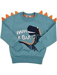 Tkria Sweat enfant Garçon Sweat-Shirt Sweater Pull Chaud Tops Bébé Cartoon Dinosaure 1 2 3 4 5 6 Ans