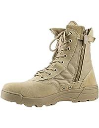Hombres Al Aire Libre El Desierto Senderismo Zapatos Deportivos Entrenadores Casuales Botas De Trabajo Botas Ultraligeras Tácticas con Cremallera Lateral Y con Velcro