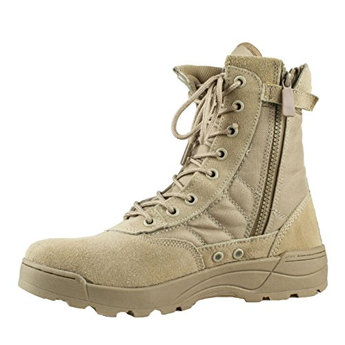 Highdas Herren Outdoor Boots Army Stiefel - High Worker Boots Einsatzstiefel Kampfstiefel Wanderschuhe Combat Boots Leinenschuhe Tactical Schuhe Braun 43