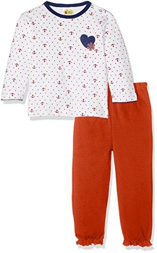 DIMO-TEX Baby-Mädchen Zweiteiliger Schlafanzug Pyjama Marina Girl 2 Teilig, Mehrfarbig (Rotweiß 1), 80