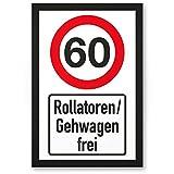 DankeDir! 60 Jahre Rollatoren/Gehwagen Frei, PVC Schild - Geschenk 60. Geburtstag, Geschenkidee Geburtstagsgeschenk Zum Sechzigsten, Geburtstagsdeko/Partydeko/Party Zubehör/Geburtstagskarte