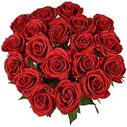 Rosen 10 Stück Real Touch Schöne Echtes Moisturizing Curling Knospe Latex künstliche Rose Kunstblumen Blume Dekoration Blumenstrauß Blumenarrangement (Rot)