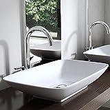 BTH: 59x37x10 cm Design Aufsatzwaschbecken Brüssel159 aus Keramik inkl. NANO-Beschichtung, Waschschale, Waschbecken, Waschtisch