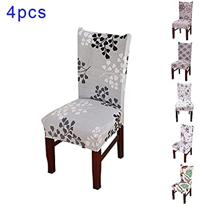 Sundlight 4pcs Spandex Dining Chair Slipcovers Removable Universal Stretch Chair Protective Covers for Dining Room, Hotel, Banquet, Ceremony - low-cost UK light store.