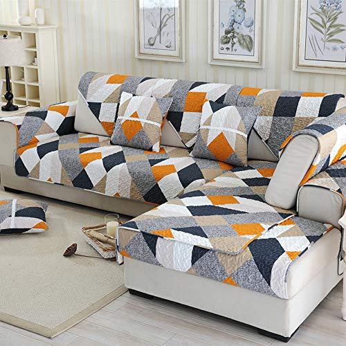 STRUGGGE Sofabezüge Twill Muster orange Möbelschutz Bezüge, maschinenwaschbar, Slip Cover Überwurf für Haustiere, Kinder, Baumwolle, 70×70cm -