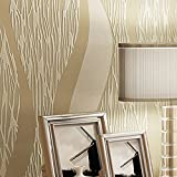 Wxl Modern minimalist striped wallpaper living room walkway TV background wall non-woven wallpaper (Color : Cream color)