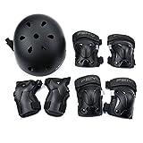 SehrGo Kinder-Protektoren-Set Sport Verstellbarer Helm, Knieschoner Ellenbogen Handgelenk-Schutz für Radfahren Skateboa