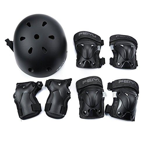 SehrGo Kinder-Protektoren-Set Sport Verstellbarer Helm, Knieschoner Ellenbogen Handgelenk-Schutz für Radfahren Skateboard Skate Scooter, 90-130 pound kids (Skates Roller Abdeckung)