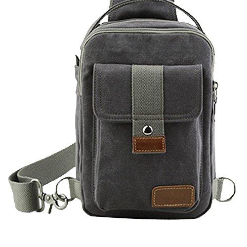 Männer Brusttasche Lässig Dual-Purpose Tasche Messenger Bag Umhängetasche Leinwand Kleine Rucksack Sporttasche,B-OneSize