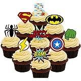 5º cumpleaños Superhero Cupcakes Comestible stand-up barquillo – Decoración ...