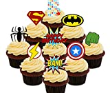 5º cumpleaños Superhero Cupcakes Comestible stand-up barquillo – Decoración para tartas, Pack of 36