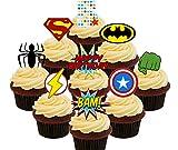 5º cumpleaños Superhero Cupcakes Comestible stand-up barquillo–Decoración para tartas, Pack of 36