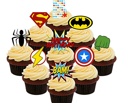 517GB8hYvuL - 5º cumpleaños Superhero Cupcakes Comestible stand-up barquillo - Decoración para tartas, Pack of 36