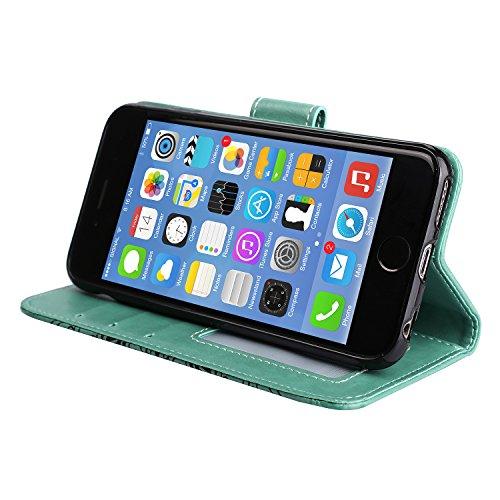 Coque iPhone SE, Coque iPhone 5S, Coque iPhone 5, Étui en Cuir de Protection Housse Étui iPhone SE 5S 5, Mandala Coque iPhone SE 5S 5 Wallet Housse, BONROY PU Leather Case Wallet Flip Protective Cover Vert
