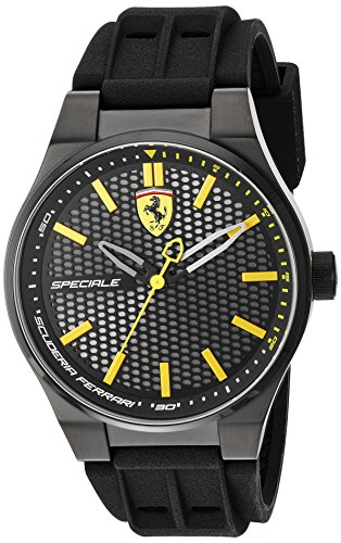 Scuderia Ferrari Men's Quartz Stainless Steel and Silicone Casual Watch, Color:Black (Model: 830354)