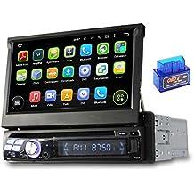 7 pulgadas Android 5.1.1 Lollipop OS 1 Din coche universal DVD, pantalla táctil capacitiva con 1.6G de la corteza A9 Quad Core CPU 16G y 1G DDR3 RAM flash Radio Estéreo GPS 3G/WIFI OBDII Aux Entrada USB/SD DVR