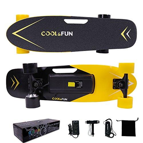 Cool&Fun Planche à Roulettes Motorisée Électrique avec Télécommande Skateboard Électrique de 4 Roues (Jaune)